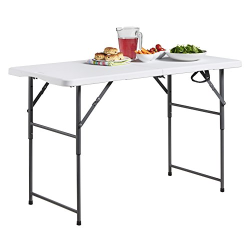 VonHaus 4ft Folding Table with Adjustable Height Portable Table: Picnic/Garden/Tailgate/Beach/Camping/Functions/Buffet/BBQ - Max Load 440lbs, Coated Steel & Extra Strong Durable Plastic