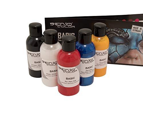 Senjo Color Basic Pinsel & Airbrush Bodypainting Farben Set 5 x 75ml Schwarz, Weiß, Rot, Gelb, Blau für Gesicht und Körper