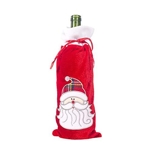 YUnnuopromi - Bolsa para botella de vino de Navidad, diseno de muneco de nieve, Papa Noel y champan, para decoracion de mesa Santa Claus