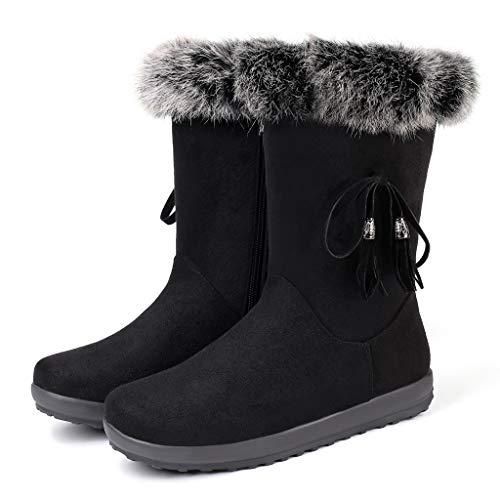 Damen Warme Plüsch Flache Schneestiefel Frau Mädchen Winter Stiefel Freizeit Schuhe Boot Stiefel Schuhe Stiefel Stiefeletten Frau Mädchen Winter Stiefel Freizeit Winterstiefel Schuhe (Schwarz, 38)