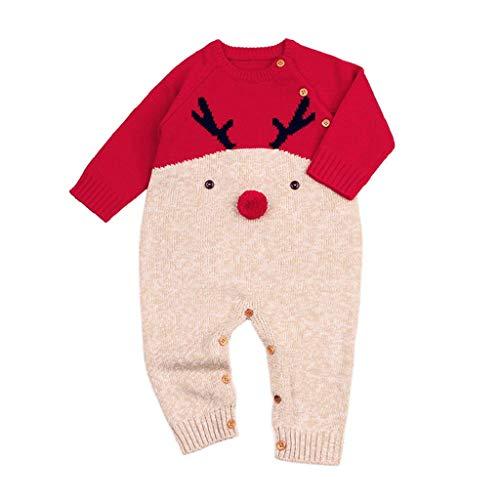QUICKLYLY Peleles Navidad Bebé Niño Niña Crochet Punto Recién Infantil Largo Manga Mono Ropa (Rojo, 12~18 Meses(90))...