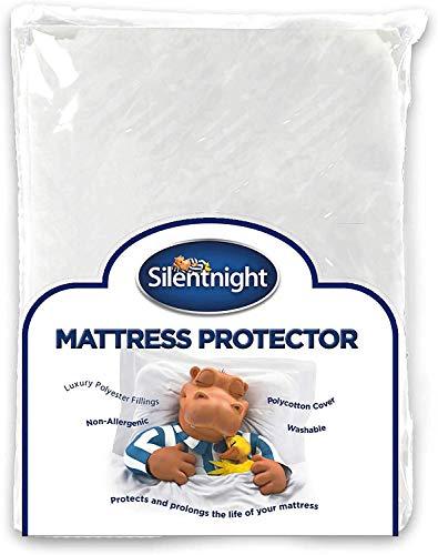 Silentnight Premium Quilted Mattress Protector-Single, Microfibre, White