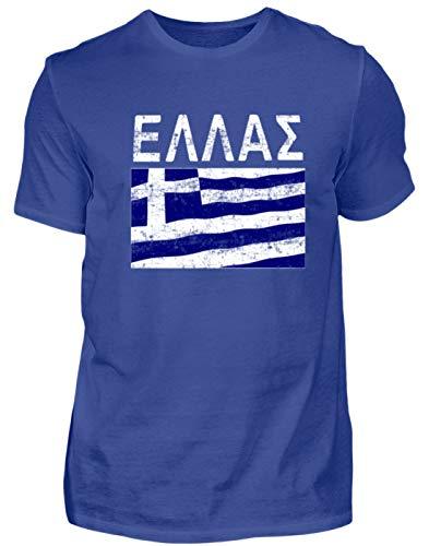 Camiseta para hombre con bandera de Grecia, Grecia, Grecia, Griega, Hellas, Hellas, Hellenen, Atenas. azul real M