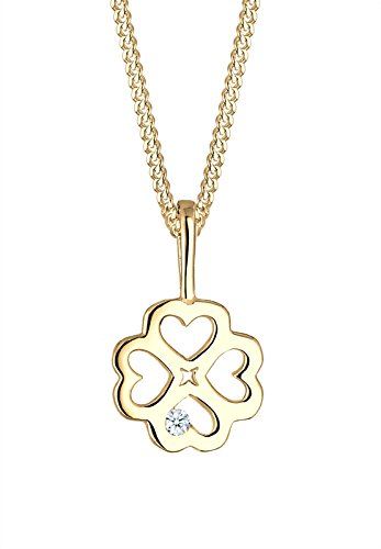 Elli Premium damesketting met hanger klaverblad 585 geelgoud diamant (0,02 ct) goud briljant geslepen 45 cm - 0108723016_45
