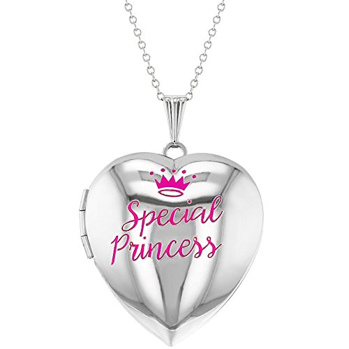 In Season Jewelry Special Princess Pink Crown Photo Heart Locket Necklace Girls Pendant 16'