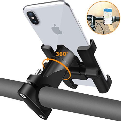 REETEE Soporte Movil Bicicleta, Soporte de Móvil Deportiva con 360 Rotación para iPhone y 4.5'-6.0' Smartphones, Soporte Manillar para Bicicleta de montaña y Motocicleta (Negro)