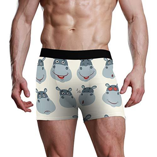 ART VVIES Personalisierte Herren Unterwäsche Geschenkkoffer Stretchy Soft Boxer Slips Shorts bequem ausgestattet Lustiges Maulkorb-Nilpferd - M.