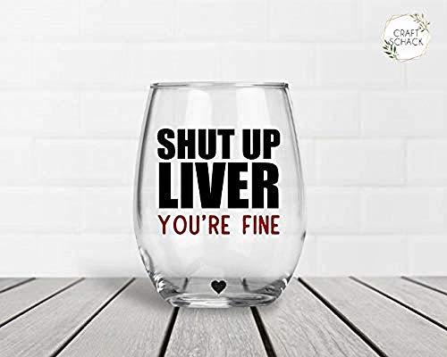 Cállate el hígado Vasos de vino / té sin tallo fino Vasos de vino / té sin tallo de 11 oz