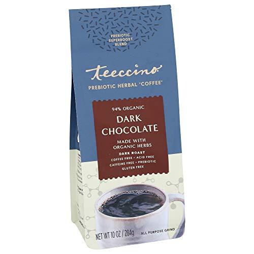 Teeccino Prebiotic SuperBoost Coffee Alternative – Dark Chocolate – Support Probiotics with Caffeine-Free Herbal Coffee Featuring 3 Vegan Prebiotics for Gut Health & Enhanced Mood, 10 Ounce