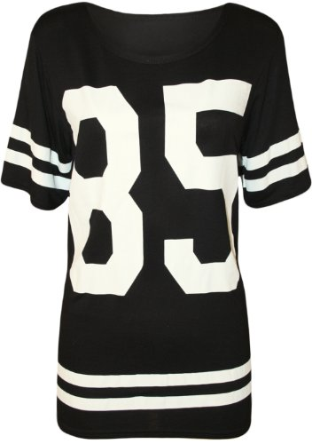 WearAll - Damen \'85\' Druck Kurzarm Baseball Trikot T-Shirt Top - Schwarz - 40-42