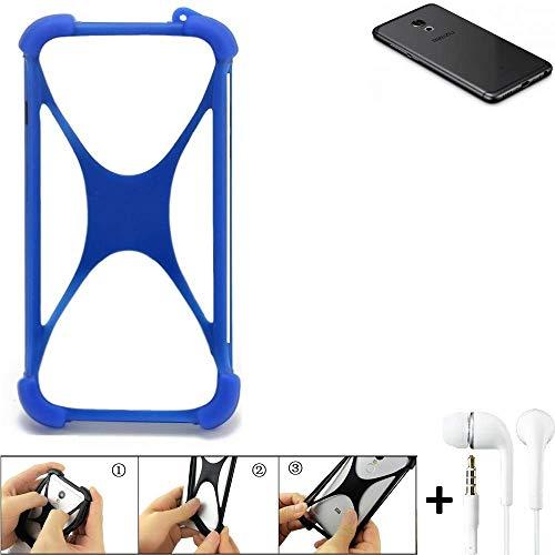 K-S-Trade® Handyhülle Für Meizu Pro 6S Bumper Schutzhülle Silikon Schutz Hülle Cover Case Silikoncase Silikonbumper TPU Softcase Smartphone, Blau (1x), Headphones