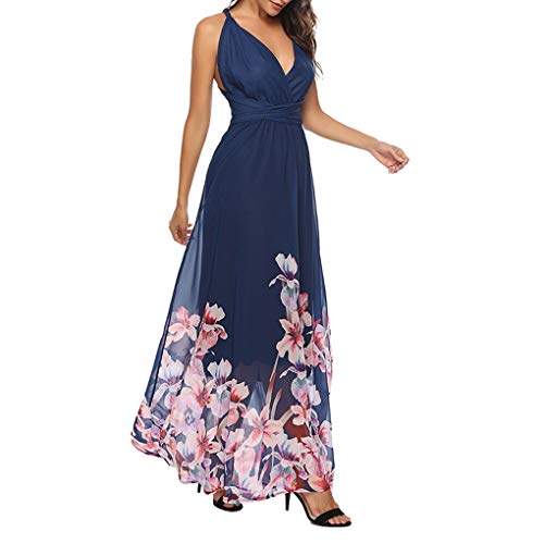 SANNYSIS Kleider Damen V-Ausschnitt Rückenfrei Neckholder Abendkleider Elegant Cocktailkleid Multi-Way Maxikleid Lang Blumen Party Kleid Sommerkleid Strandkleider (L, Blau)