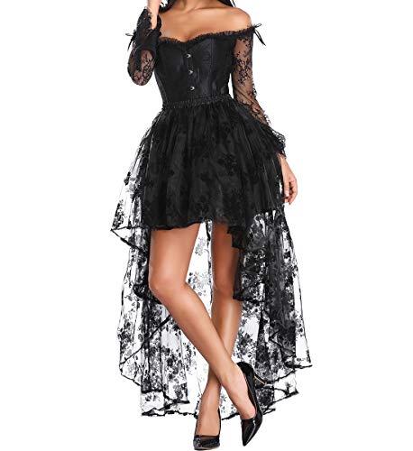 SLIMBELLE Mujer Gtico Corset con Falda Asimtrico para Fiesta Halloween Disfraz Sexy Steampunk Brocado Lace Satn Vestido Vintage Ropa Ertica Cors Negro