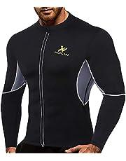 NINGMI Herrbastudräkt långärmad – helkroppsformare svettjackor midjetränare träning neopren skjorta gym