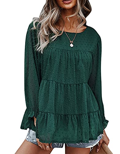 T-Shirt Damen Einfarbig Bluse Rundhals Hemd Solide Tunika Elegant Oberteile Chic Lose Mode Langarmshirts Dunkelgrün