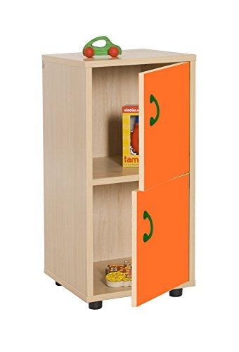 Mobeduc 600217HPS19-Mobile per sotto/Armadio a 2 Ante, in Legno, Colore: Arancione/Naturale Legno, 40 x 36 x 76,5 cm