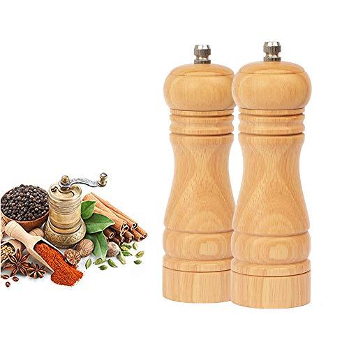 BeIM Manuelle Pfeffermühle 2er Set Salz und Pfeffermühle mit Keramikmahlwerk Grobheit Einstellbarem Holz Salzmühle Gewürzmühle, H 16.5cm