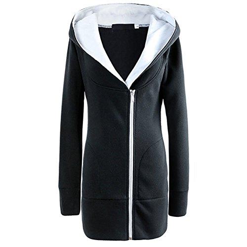 OMUUTR Damen Sweatjacke Parka Jacke Long Kapuzenpullover Outwear Langarm Zip Hoodie Steppjacke Mäntel Warme Winter Herbst S-3XL