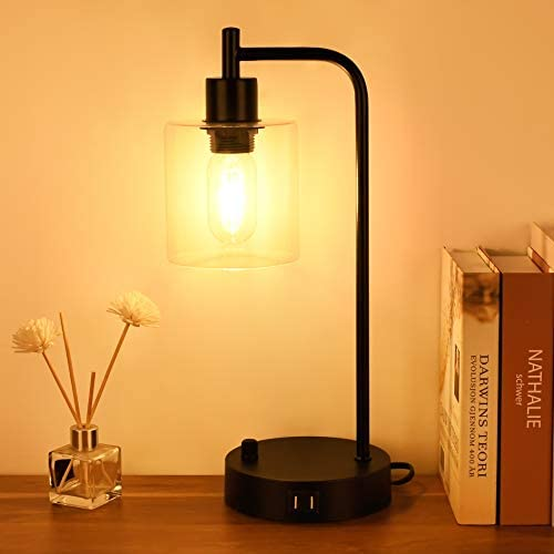 Industrial Table Lamp Dimmable Nightstand Table Lamp with 2 USB Ports Winshine Glass Shade Bedside product image