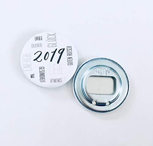 Buntermix Silvester Glücksbringer Button Flaschenöffner Spiegel 2019 (Flaschenöffner grau)