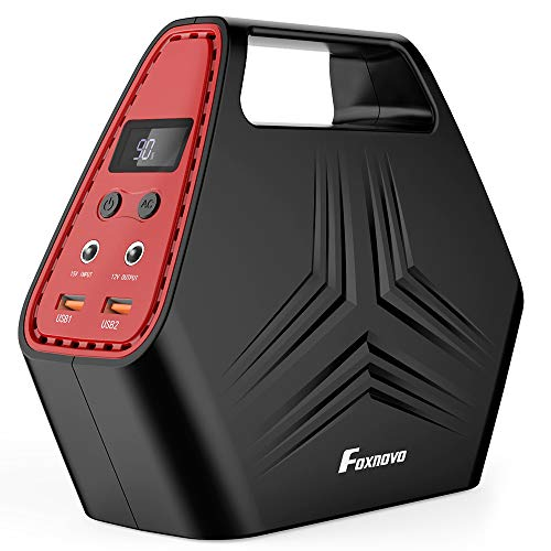 Foxnovo 150W Mini Portable Generator Power Station 146Wh Battery Backup for Home Travel Camping Emergency Charged by Wall Outlet/Solar Panel/Car with 2 120V AC Outlets, 2 5V USB Outputs, 12V DC Output