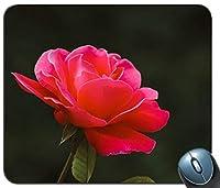 ピンクの花のビデオをアップパーソナライズされた長方形のマウスパッド、印刷された滑り止めゴム快適なカスタマイズされたコンピューターマウスパッドマウスマットマウスパッド