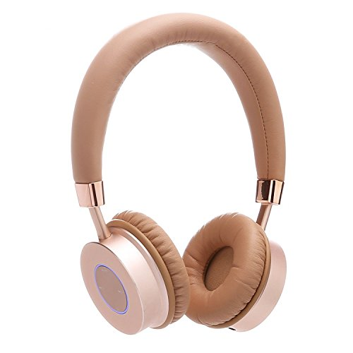 Contixo KB-200 Premium Kids Headphones with Volume Limit Controls (Max 85dB), Bluetooth Wireless Headphones Over-The-Ear with Microphone (Gold) - Best Gift