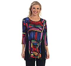"""Colorful Brush Strokes Print with black side trim Pullover style : 3/4 sleeves : scoop neck : A-line shaped tunic : back side panels Small Bust: 38"""" Length 30"""" : XL Bust: 40"""" Length 31"""" : Large Bust: 43"""" Length 31"""" : XL Bust: 45"""" Length 32"""" 1X Bust: ..."""