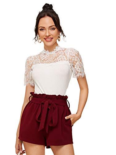 DIDK Damen Elegant Oberteil mit Spitzen Lässig Bluse T-Shirt Oberteile Tops Einfarbig Top Sommershirts Weiß #363 M