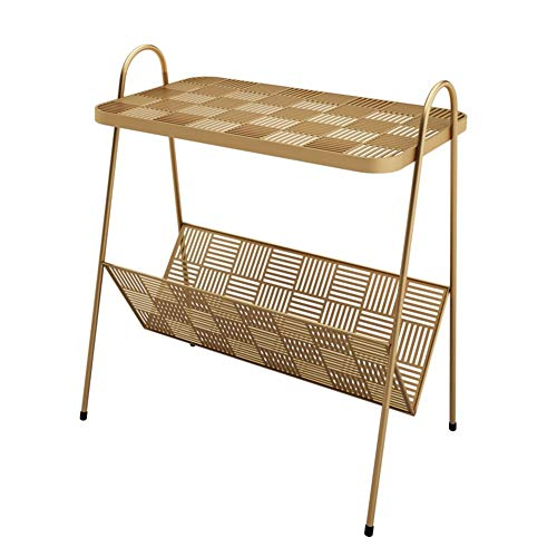 LICHUAN Mesa de centro nórdico moderna de hierro forjado, mesita de noche simple para dormitorio, sala de estar, sofá, mesa de café, mesa auxiliar para sala de estar (color dorado)