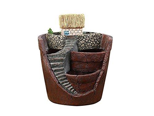 HGJNGHBNG Jardín en Miniatura Plantador Creativo suculento Maceta Micro Paisaje Ornamento Maceta con casa pequeña (marrón)