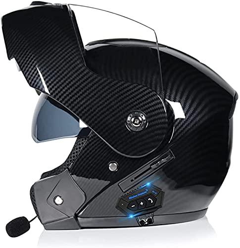 HSWYJJPFB Cascos de Moto Casco de Moto Hombre Casco Bluetooth, 55-62 cm Cascos abatibles aprobados por ECE/Dot para Adultos con Dos Viseras Cascos de Motocross ABS Marterial S-XL Cascos 0509(Color:D