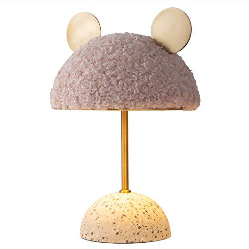 Lámpara de Mesa Lámpara de mesa de niña Dorado Simple Escritorio de la cama Lámpara creativa ronda oreja Pantalla de lámparas Dormitorio Habitación para niños Sala de estar E27 Iluminación de Interior