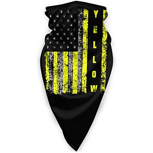 Lfff Scaldacollo Sottile Linea Gialla Bandiera Americana Unisex Sciarpa Sportiva Antivento Scaldacollo Esterno Bandana Passamontagna Copricapo Mascherina