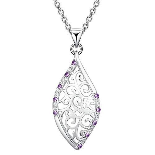 Adokiss Mujer chapado en plata round-shape Purple zirconia cúbica