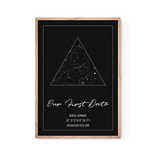 BOLD DESIGN Personalisiertes Poster mit Sternenhimmelkoordinaten - Das originelle und individuelle Geschenk für Paare zum Jahrestag oder zur Hochzeit - Mit hochwertigem Rahmen fertig zum Aufhängen