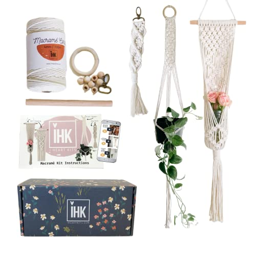 DIY Macrame Plant Hanger Kit by I HEART KITS – Makes 3 Projects: 1 Macrame Plant Hanger, 1 Macrame Keychain & 1 Macrame Wall Hanging, Includes Cotton Cord 4mm (109 Yds) + Macrame Supplies