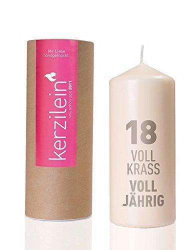 Kerze / Stumpen-Kerze / Geburtstags-Kerze 18 Voll Krass Voll-Järig Kerze in weiß mit Aufdruck in grau - Geburtstags-Deko - Geburtstags-Geschenk - Volljährig 18 Jahre - Kerzilein Made in Germany