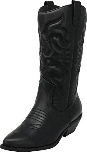 Cambridge Select Women's Western Pointed Toe Mid-Calf Cowboy Boot,10,Black Pu