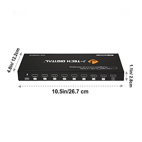 J-Tech Digital JTD4KSP0108 Premium Quality Ultra HD 4K 60HZ 1x8 HDMI Splitter High Resolutions Up To 4Kx2K 36-Bit Deep Color