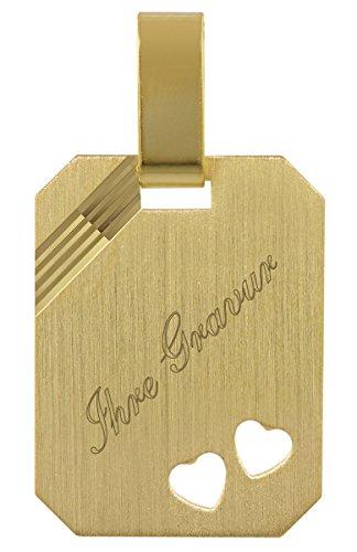 trendor Gold Gravurplatte inklusive Wunsch-Gravur Gravurschmuck aus Echtgold, Schmuckstück für Damen und Herren, zauberhafte Geschenkidee, Goldanhänger, 35773