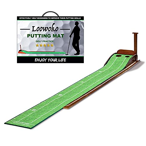 Loowoko Putting Green with Ball Return,Golf Practice Training Equipment Putting Mat for Indoor