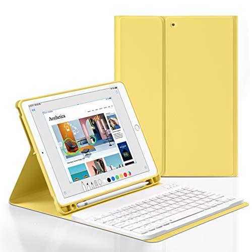 SUOLONG Funda de teclado para iPad de 10.2 pulgadas 9/8th/7th Gen, soporte para bolígrafo integrado con teclado BT inalámbrico desmontable compatible con iPad 10.2 pulgadas 2021/2020/2019. (amarillo)