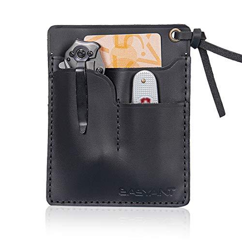 EASYANT Handmade Oil Wax Leather Sheath Pocket Pouch EDC Organizer Card Holder Wallet
