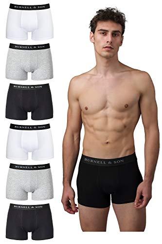 Burnell & Son Boxershorts Herren schwarz weiß grau blau 6er Pack Unterhosen Männer aus atmungsaktiver Baumwolle S-XXXL 2X Schwarz,2X Grau, 2X Weiß, L