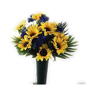 Cemetery Gravesite Memorial Flowers Yellow Sunflowers Blue Flowers