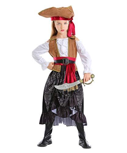 NIMIFOOL Disfraces para niños Traje De Capitán Pirata De Niña De Poliéster para Familia De Padres E Hijos Adecuado para La Fiesta Escolar De Halloween,M