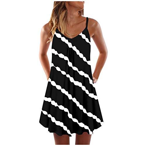 JPOQW - Vestido de verano para mujer, con rayas, con bolsillos