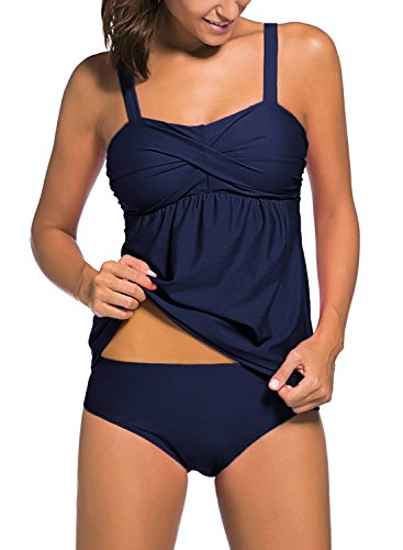 Actloe Women's Two Pieces Swimwear Ruched Tankini Top with Triangle Bottoms S-XXXL Blue XX-Large