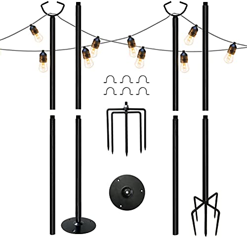 MARVOWARE 2PCS 3 Functions String Light Poles for Outdoors, Weather Resistant,Christmas Decoration Light Pole for House Garden Patio Wedding Cafe Party